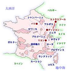かつてはドイツ領だったフランスのアルザス地方の地図