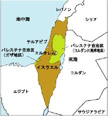 イスラエル・パレスチナ・ガザ地区の地図